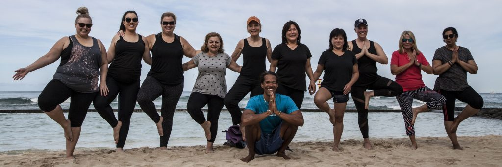 yoga at beach hawaii